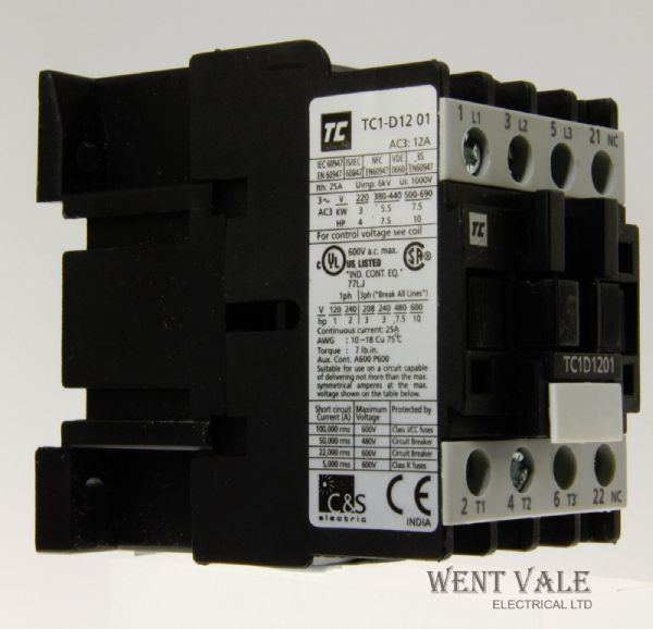 Robusta - TP1D1201 B7 - 12a 5.5kW 415v AC3 - 3 Pole Contactor With 24vac Coil.